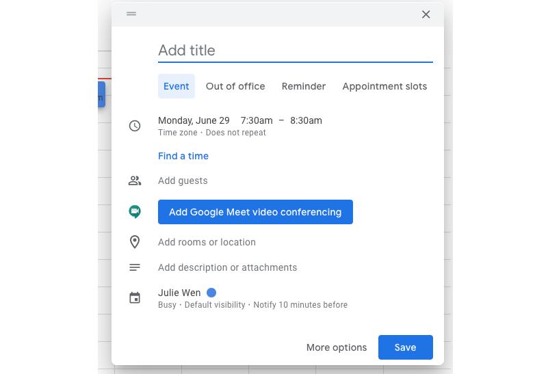 google calendar new overlay settings
