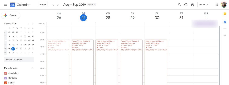 Google-Kalender mit Spam