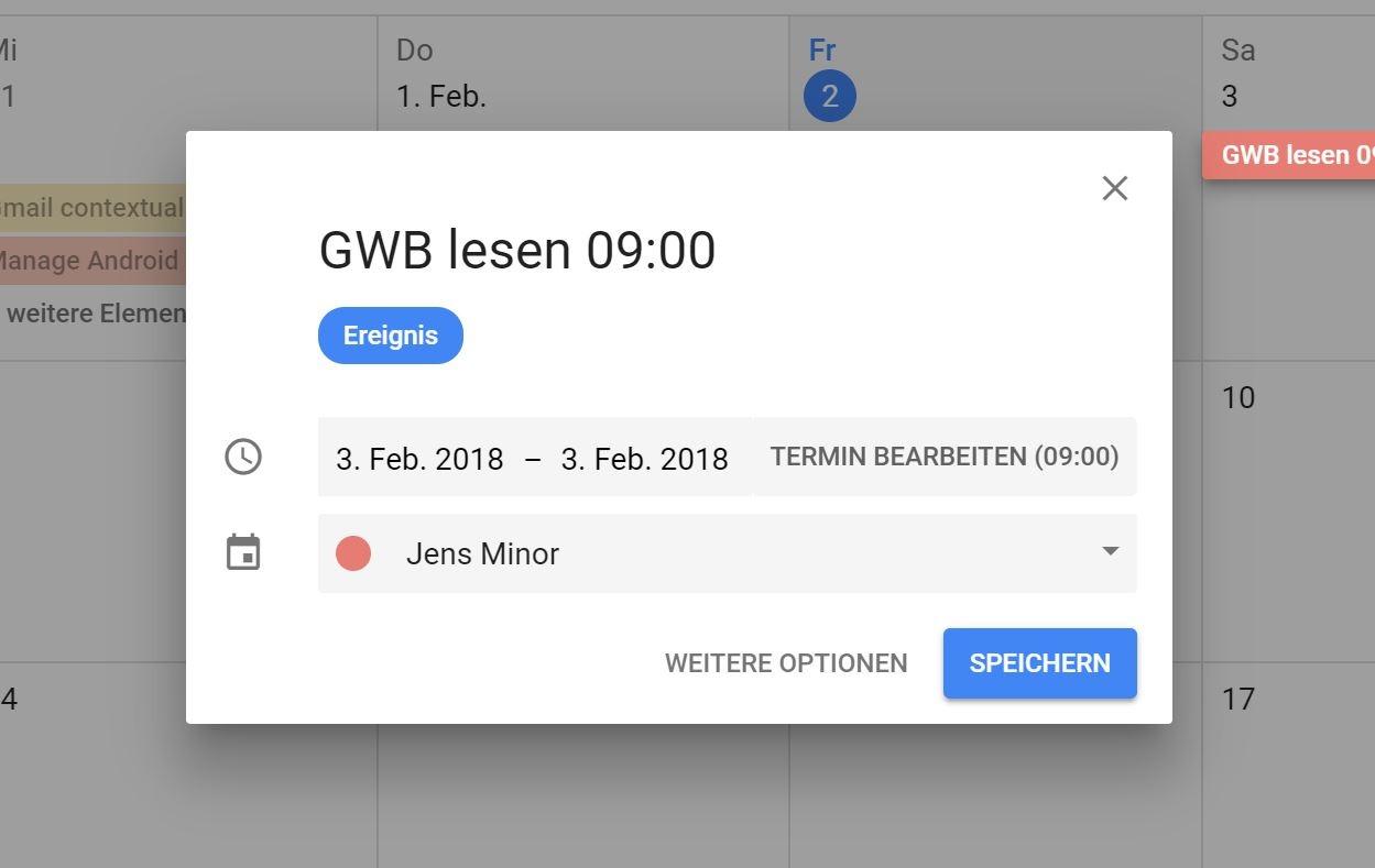 Google Calendar Termin