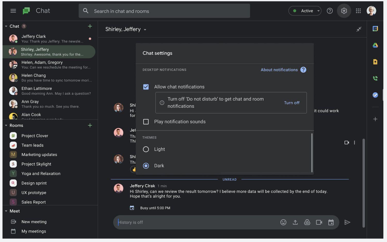 google chat dark mode