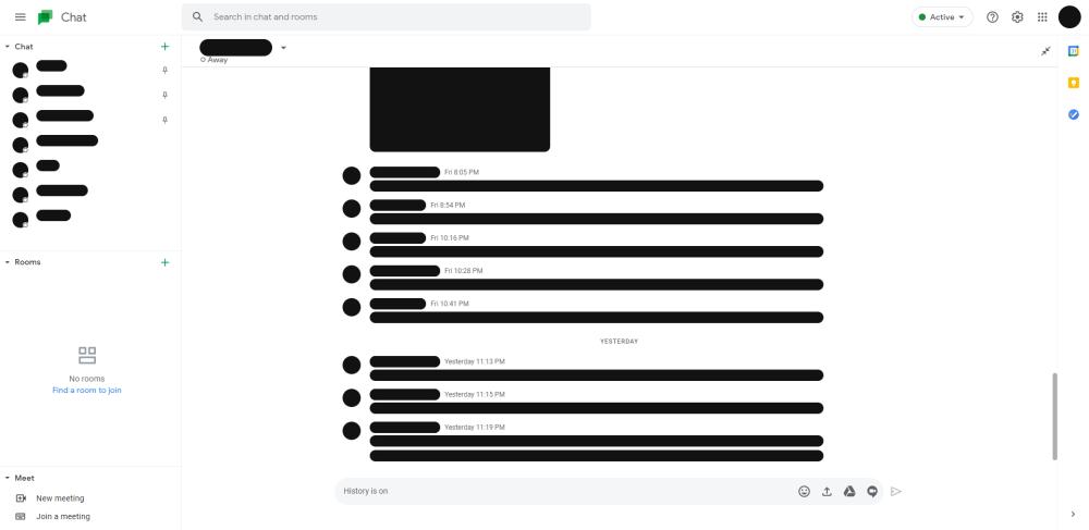 google chat screenshots