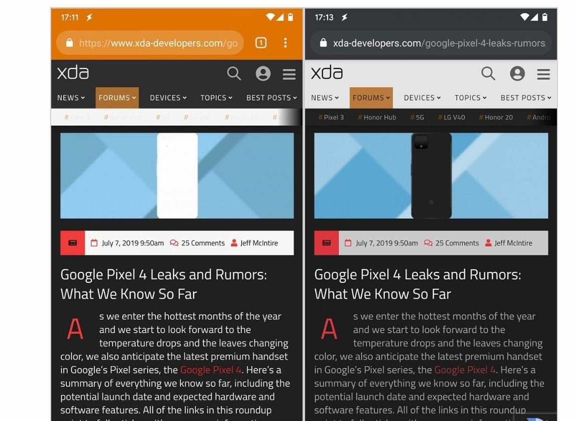 google chrome dark mode comparison