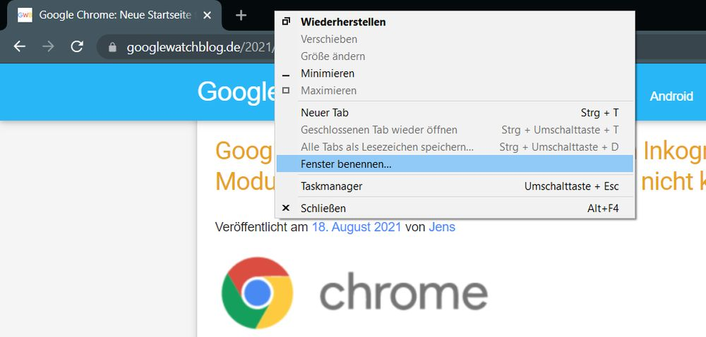 google chrome fenster benennen
