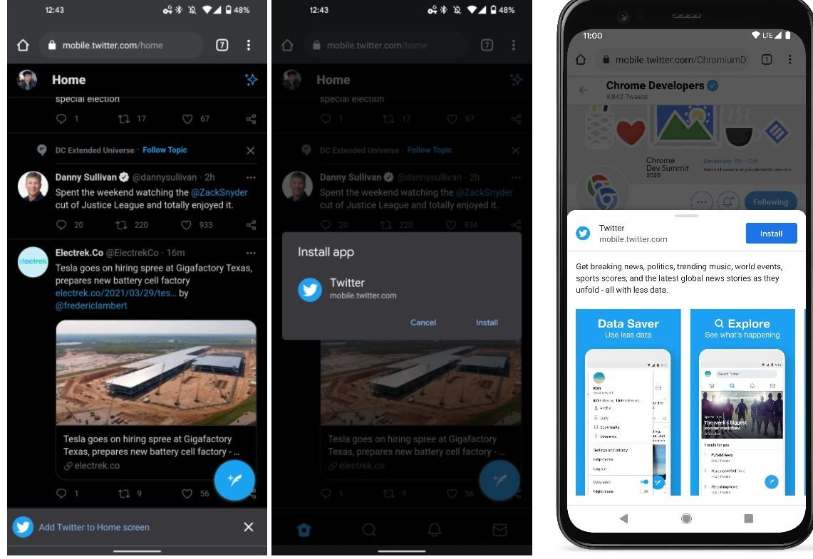google chrome for android pwa installation twitter