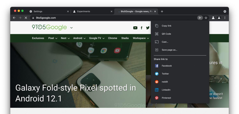 google chrome new sharing hub