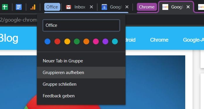 google chrome tabs context menu