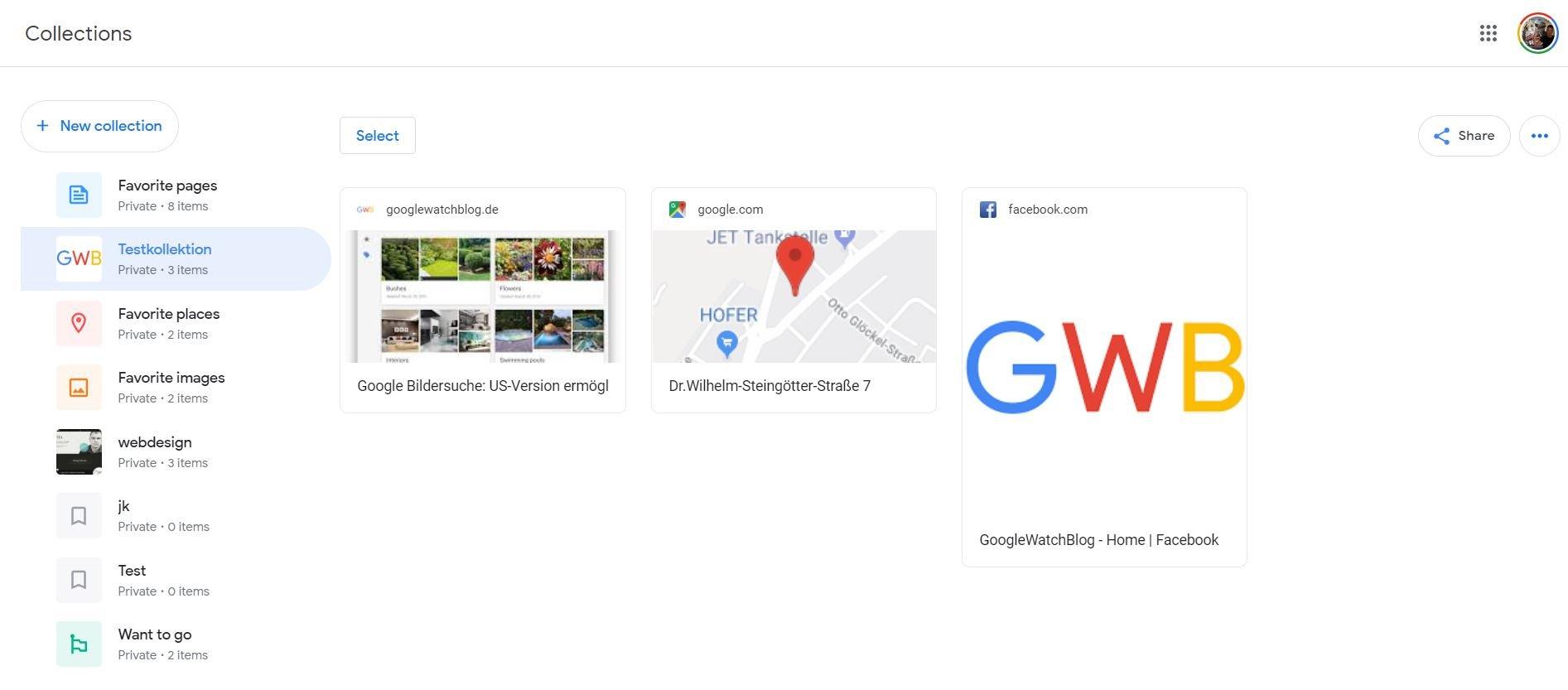 google collections screenshot