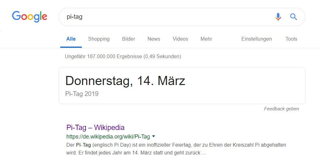 google des tages pi tag