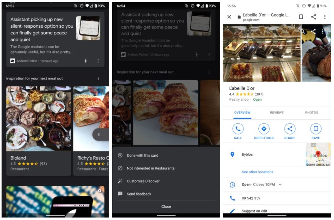 google discover feed maps restaurant