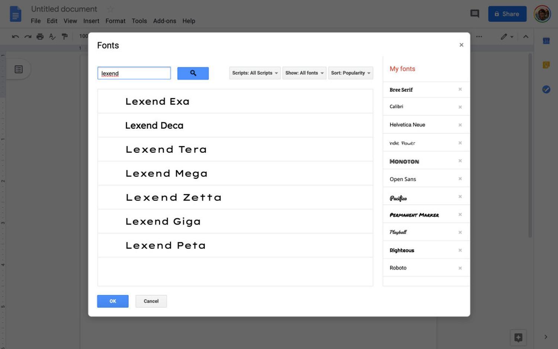 google docs lexend font
