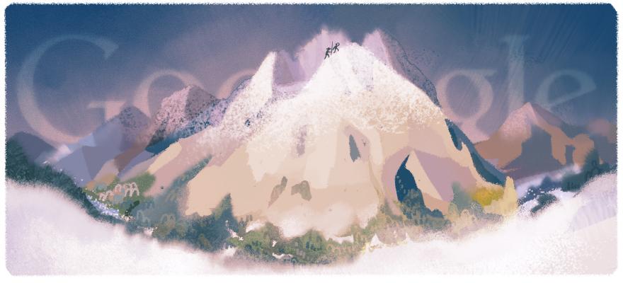 google doodle erstbesteigung des mont blanc