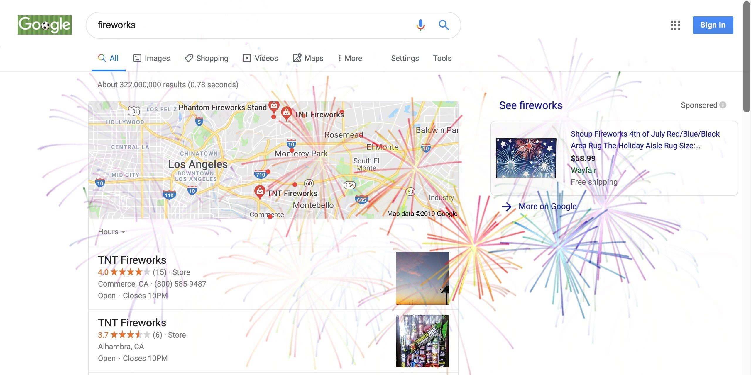 google doodle firework