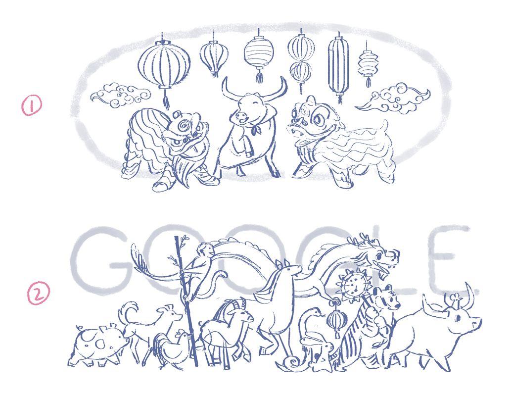 google doodle mond-neujahr metall-büffel entwürfe