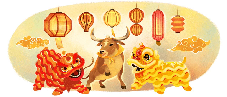 google doodle mond-neujahr metall-büffel