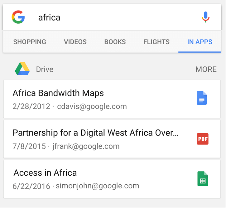 google drive app indexing