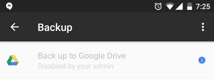 Google Drive Backup Error