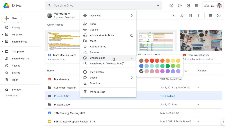 google drive ordner farben