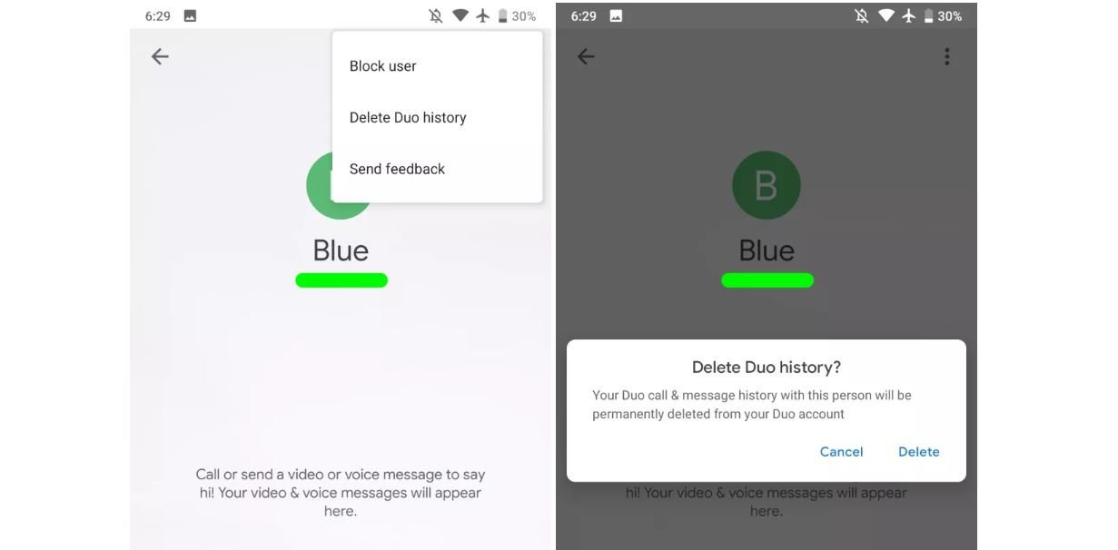 google duo delete history