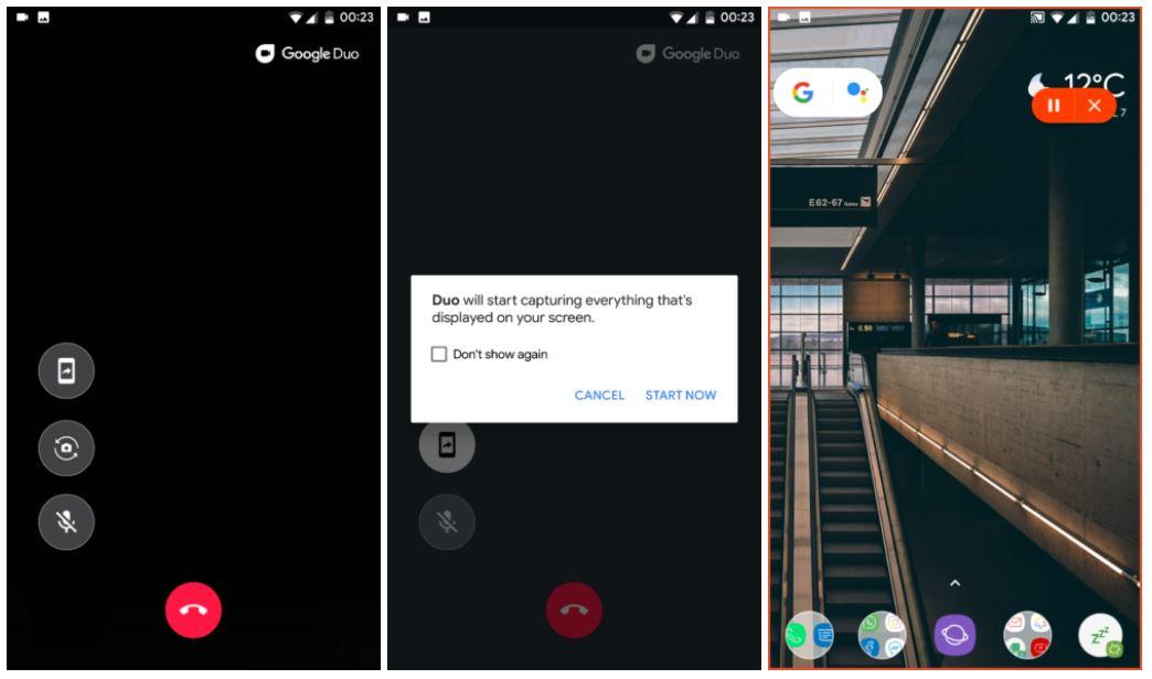 google duo screen sharing