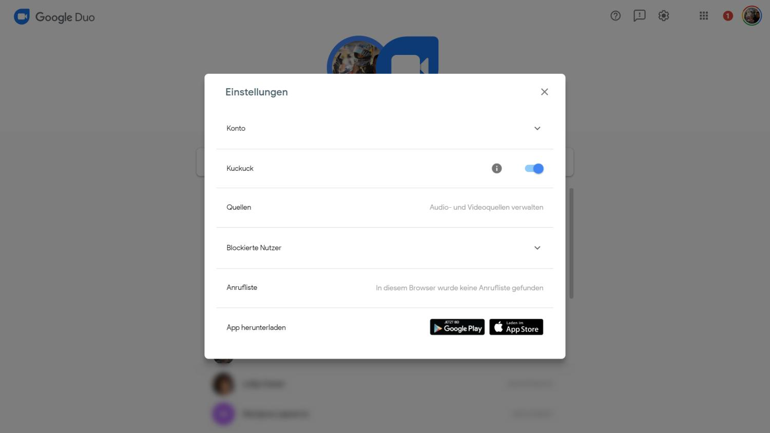 google duo settings