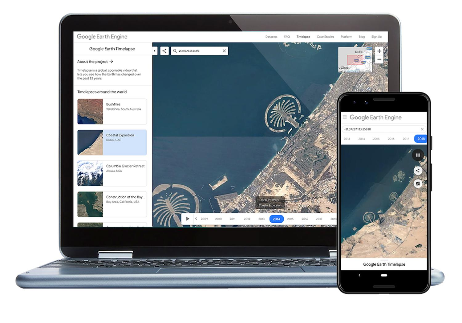 google earth timelapse devices