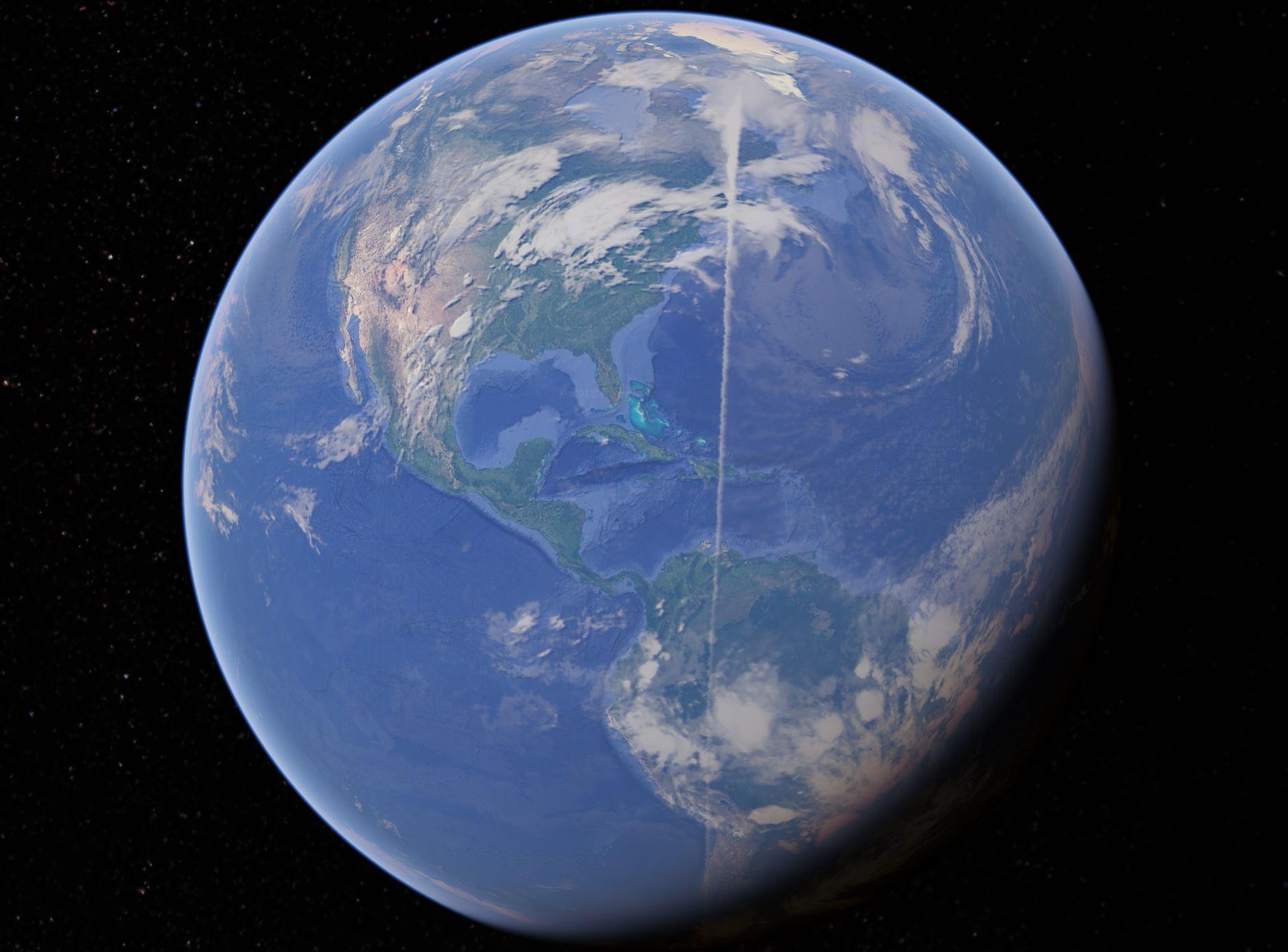 google earth weisse wolke