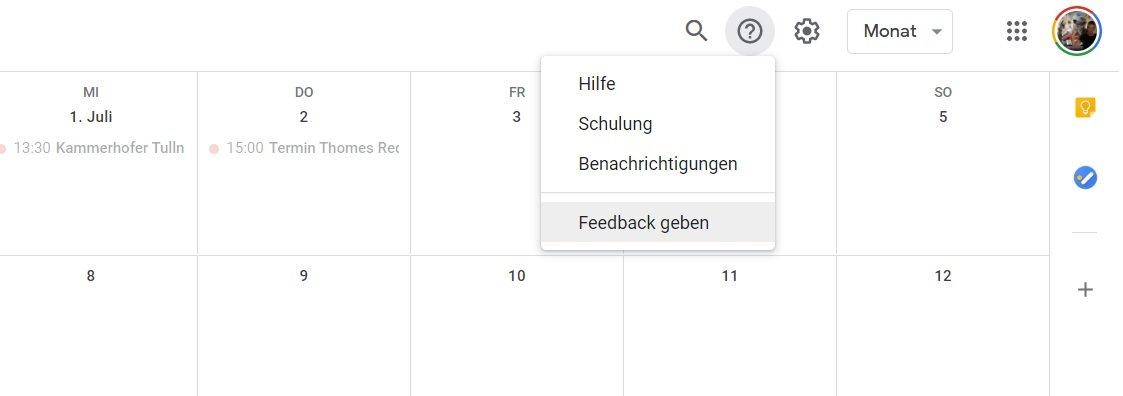 google feedback geben