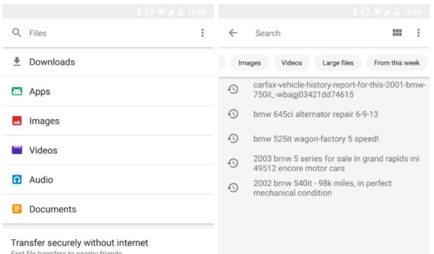 google files go search