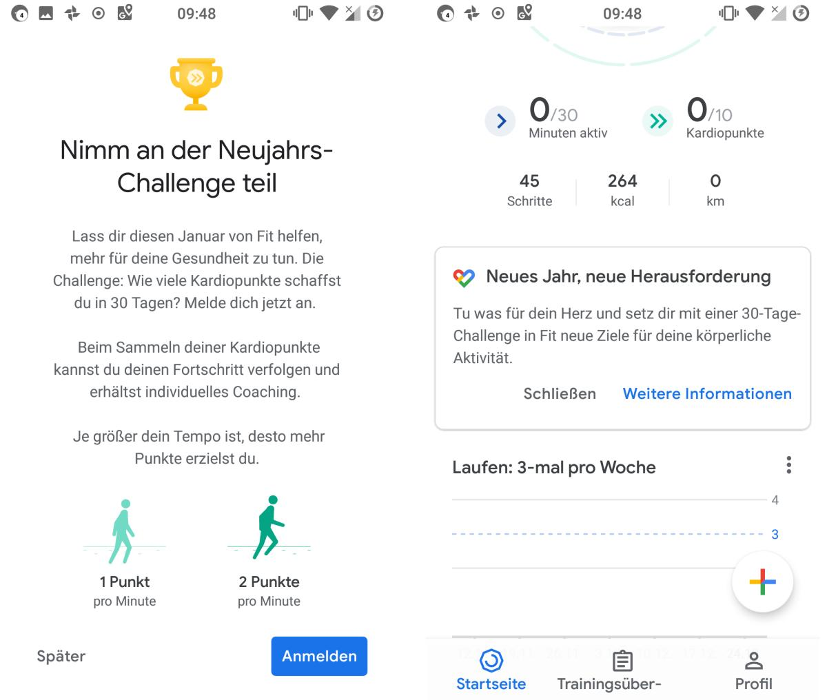 google fit challenge screenshots