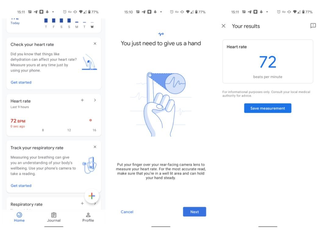 google fit heartrate