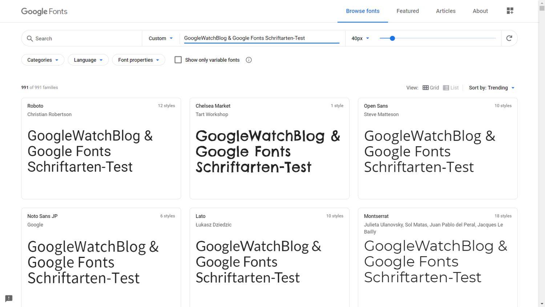 google fonts ergebnisse