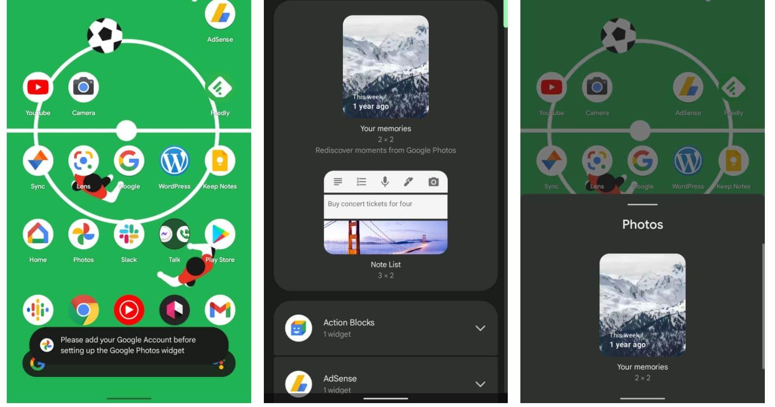 google fotos android homescreen widget