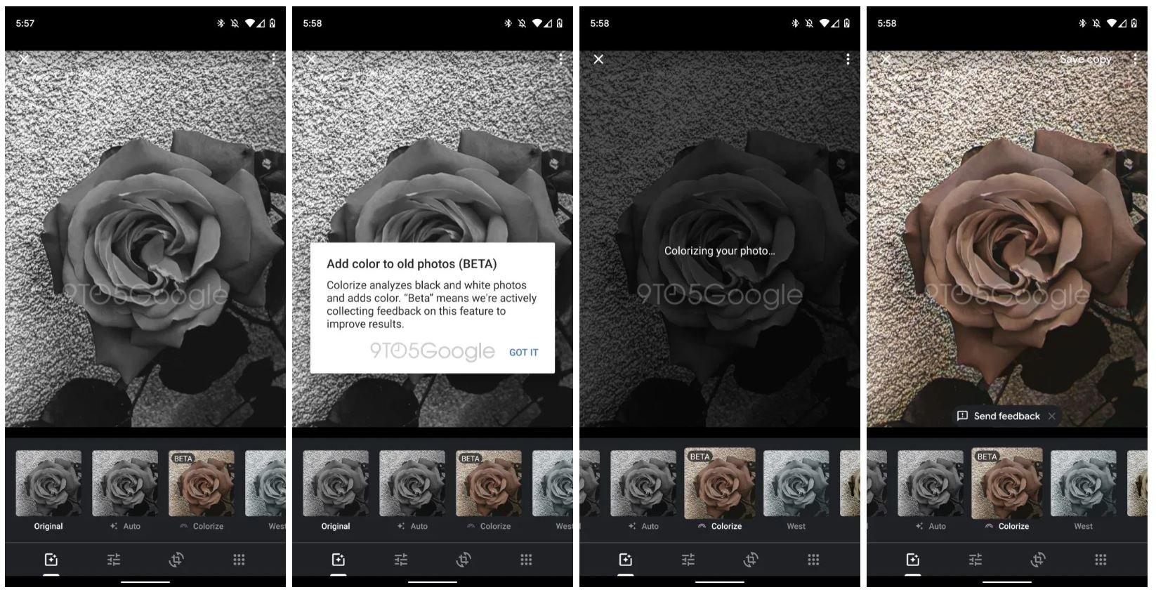 Google Fotos Colorize Screenshot