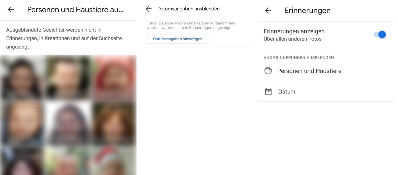 google fotos erinnerungen einstellungen