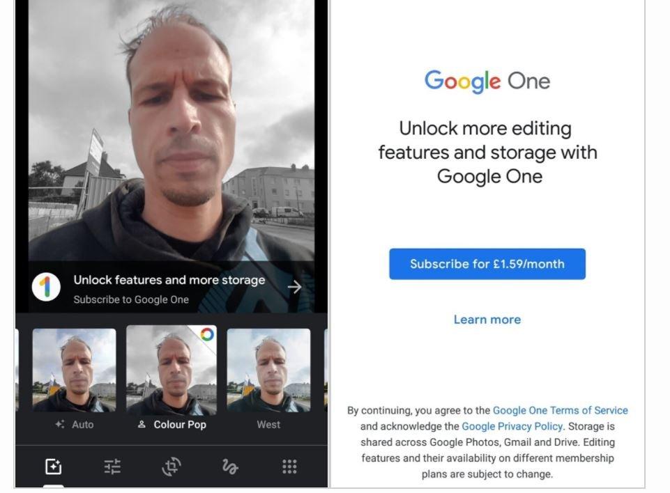 google fotos google one color pop filter