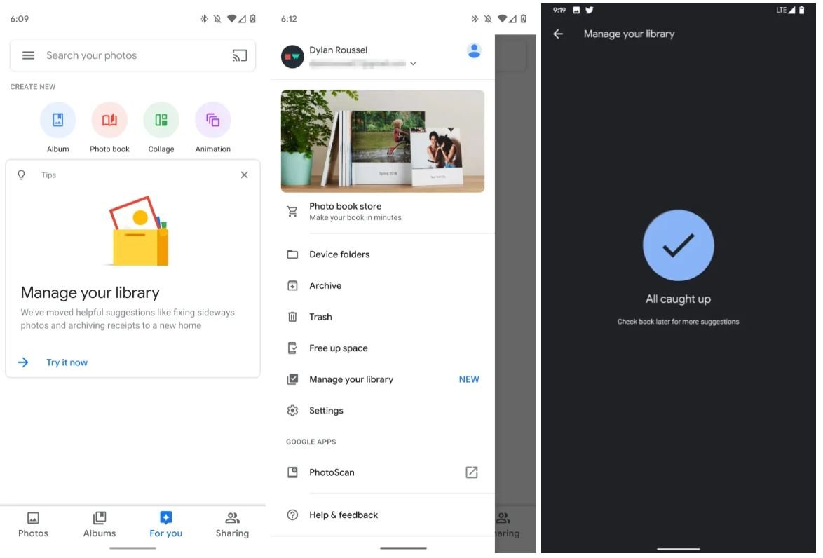 google fotos manage your library