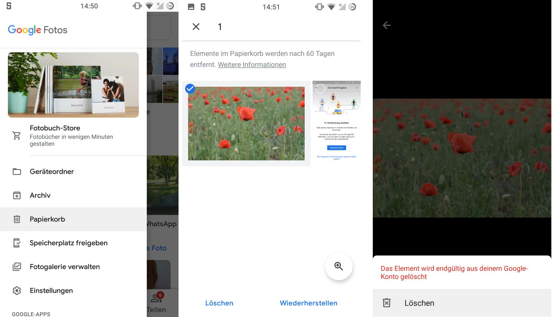 google fotos papierkorb