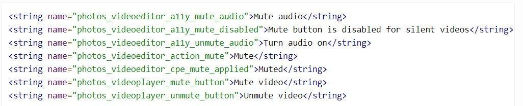google fotos strings mute video