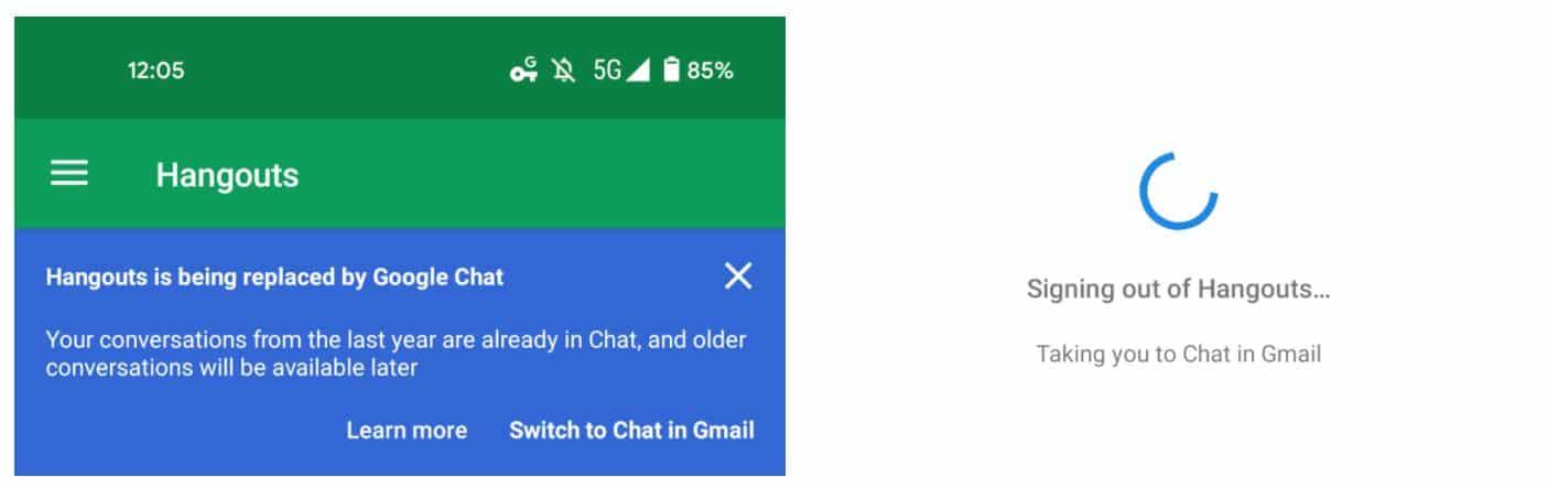 google hangouts chat signout