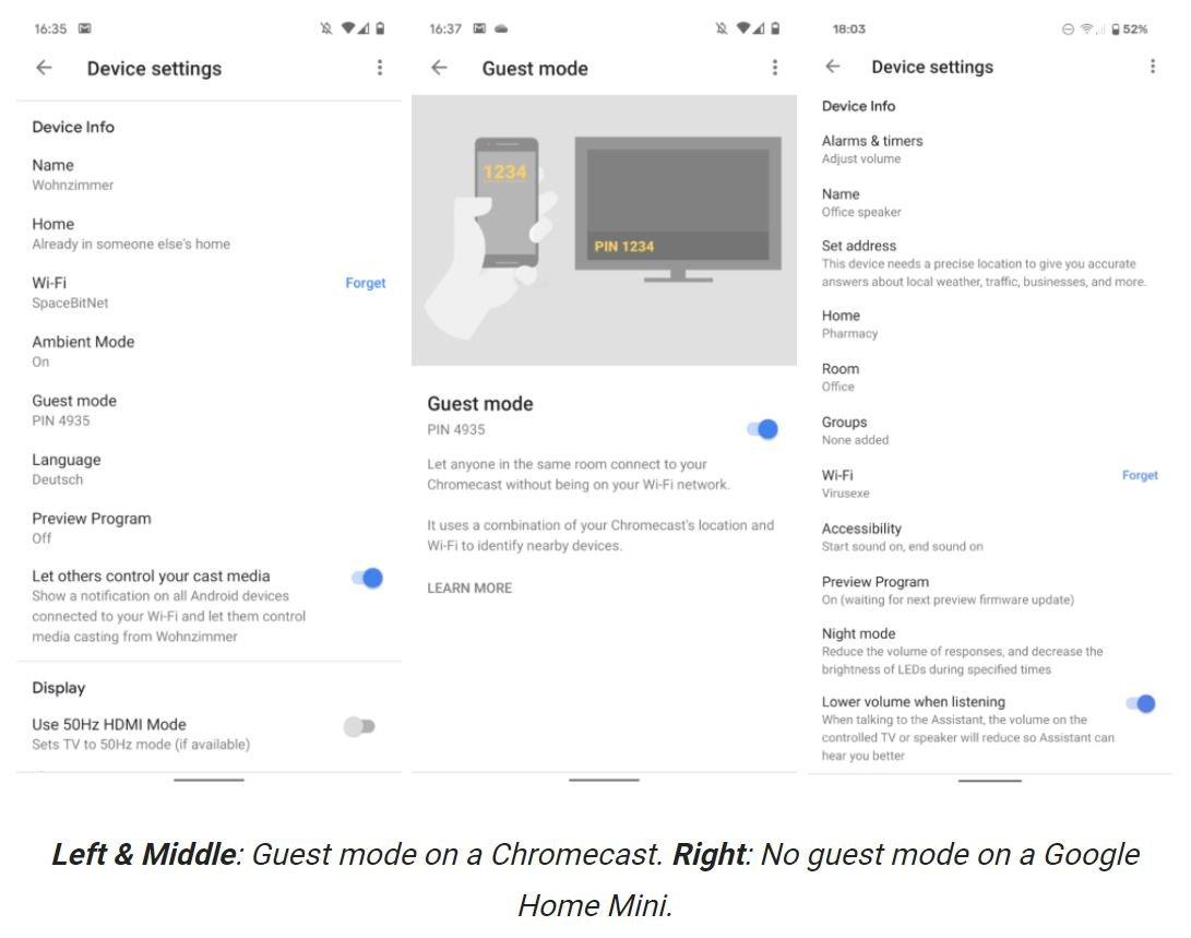 google home gastmodus screenshot