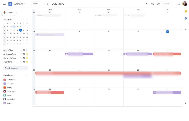 google kalender fünf tage