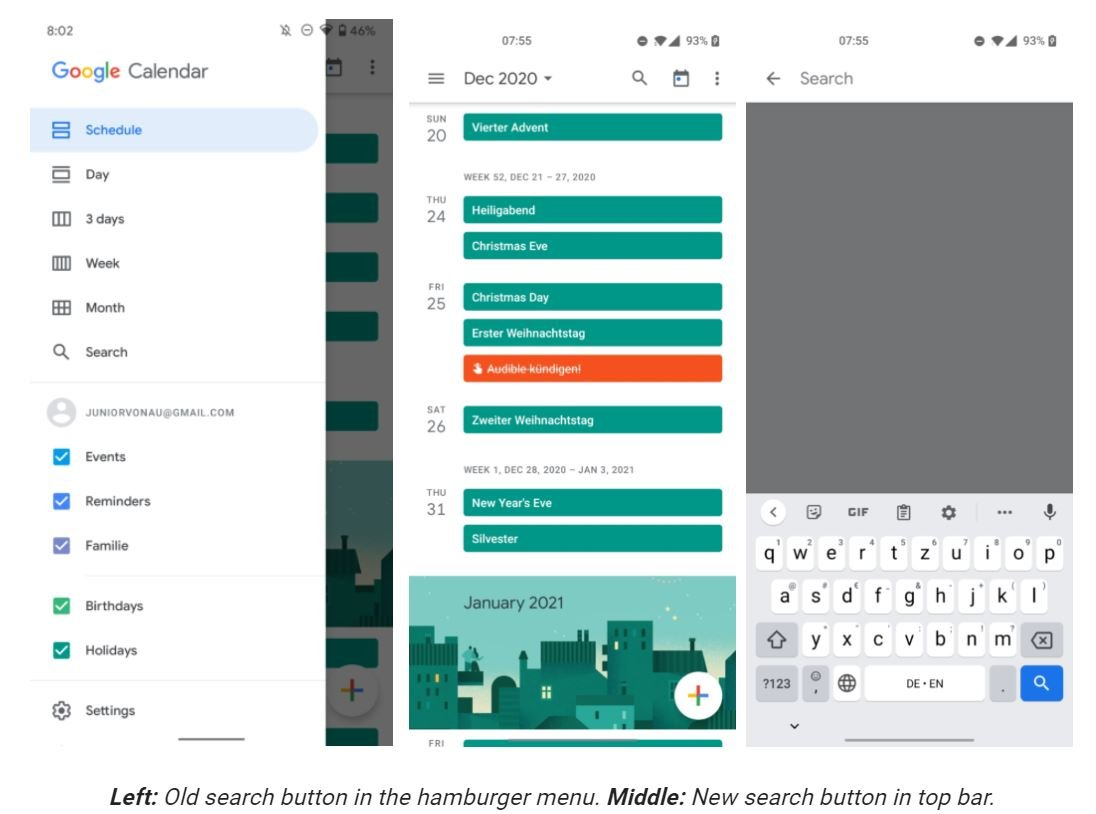 google kalender suchen-funktion screenshots