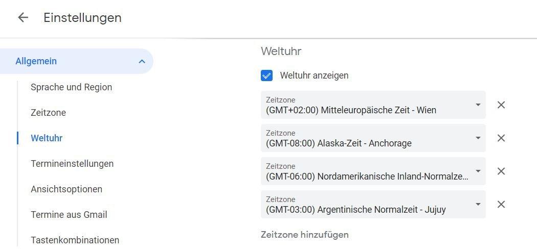 google kalender weltuhr einstellungen