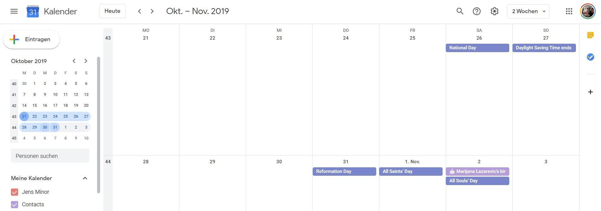google kalender wochenauswahl