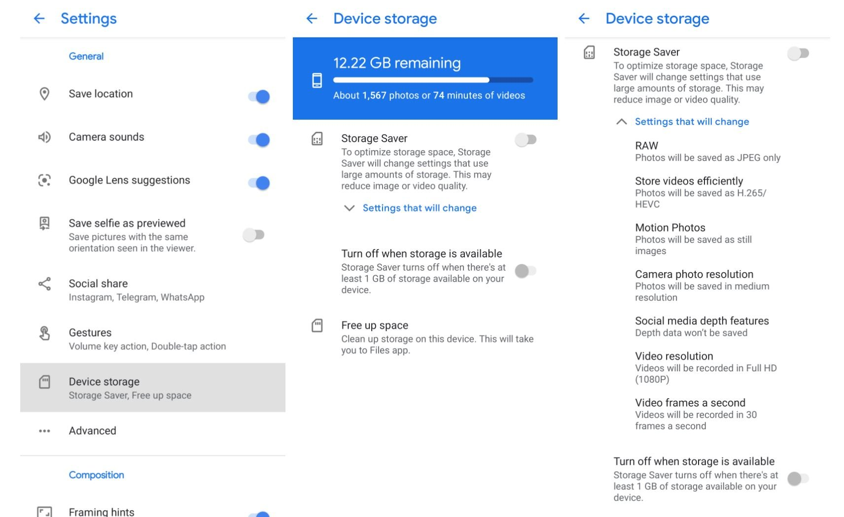 google kamera pixel speicherplatz sparen