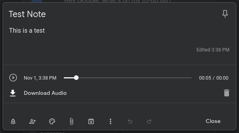 google keep audio desktop
