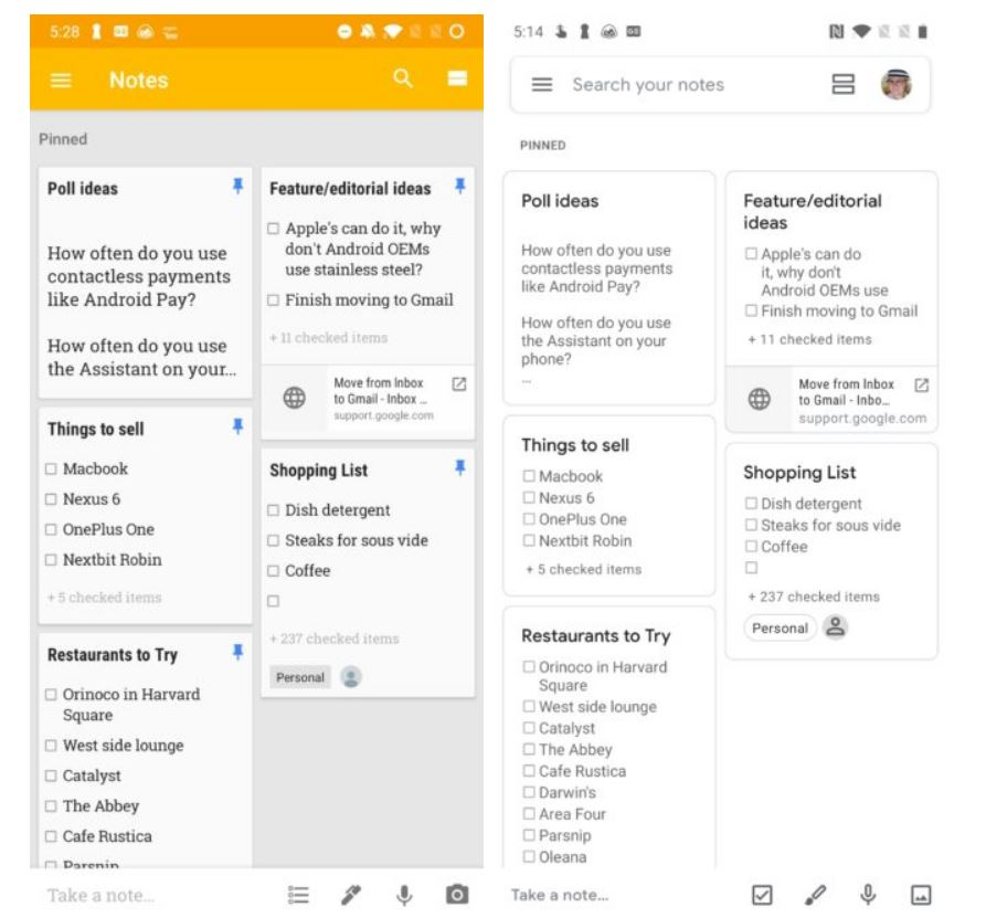 google keep new design