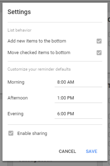 google keep settings