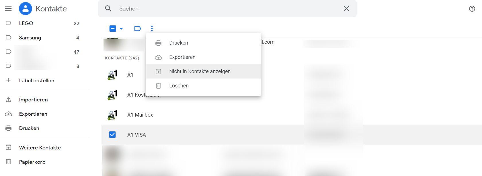 google kontakte archivieren