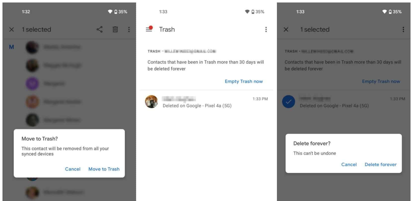 google kontakte papierkorb